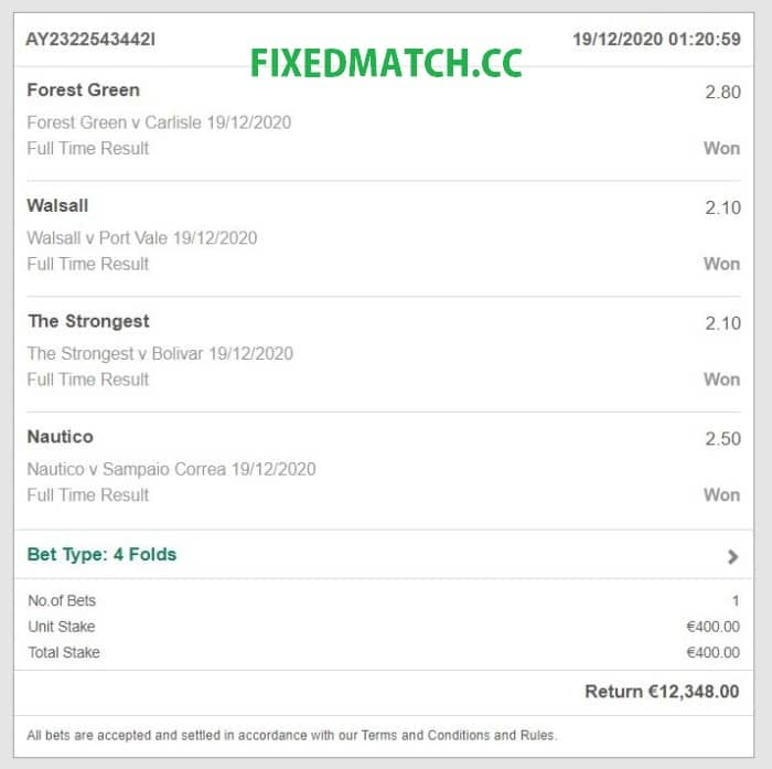 vip fixed bets today