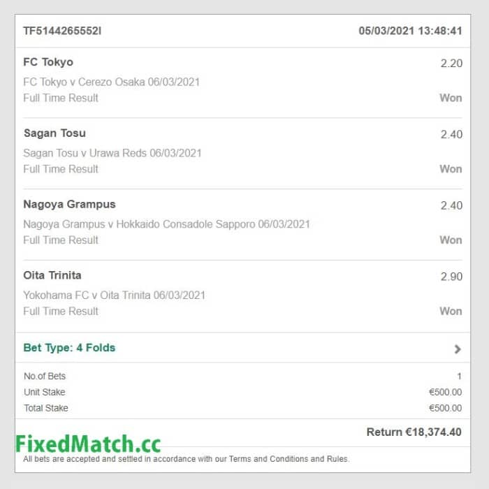 4 combo fixed bets big odds