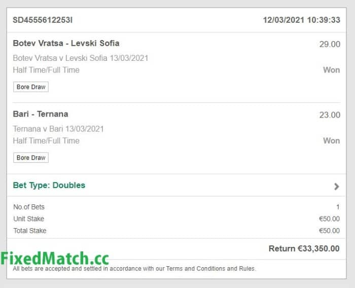 Sure ht ft fixed bets big odds
