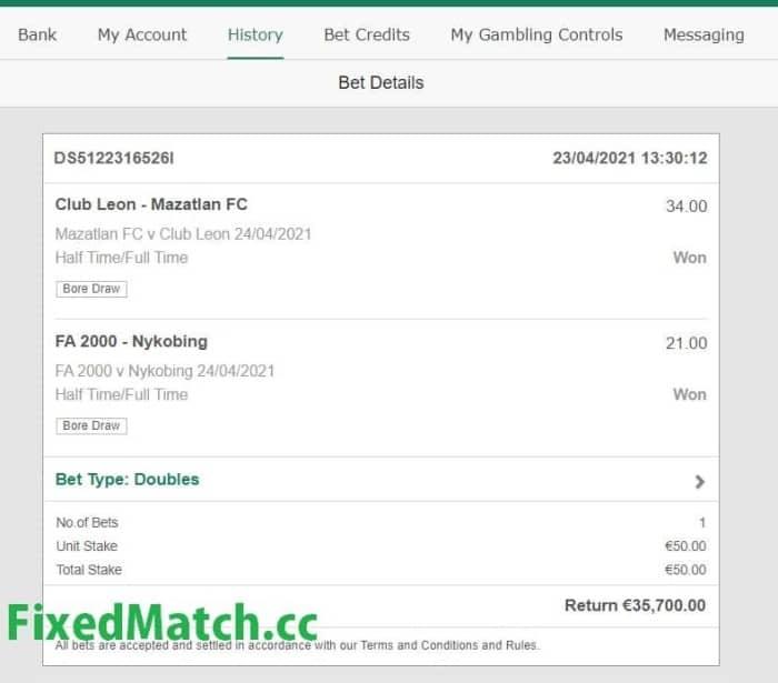 ht ft weekend big odds ticket